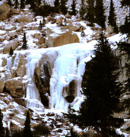 Frozen waterfall from Outpost Camp